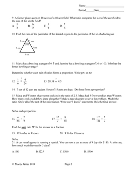 Ratio and Proportion Test and Review