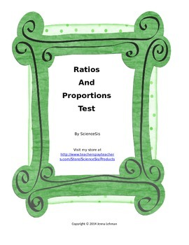 Ratio and Proportion Test or Quiz