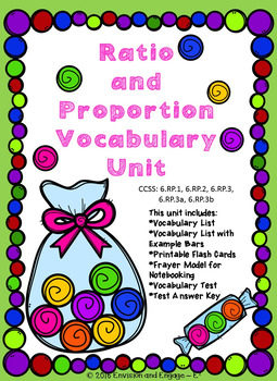 Ratio Proportion Vocabulary Assessment Unit Frayer Model with Answer Key