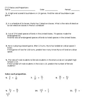 Ratio and Proportion Worksheet