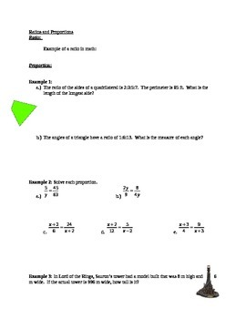 Ratio and Proportion Worksheet with Answer Key