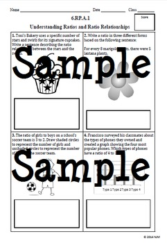 6th Grade Math Common Core Ratio and Proportional Relationships Assessments