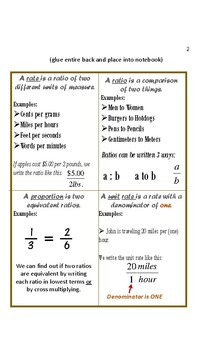 Ratio and Proportions Foldable/Notes