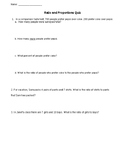 Ratio and Proportions Quiz - 3 versions