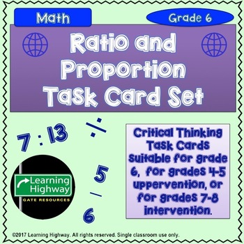 Ratio and Proportions TASK CARD Set