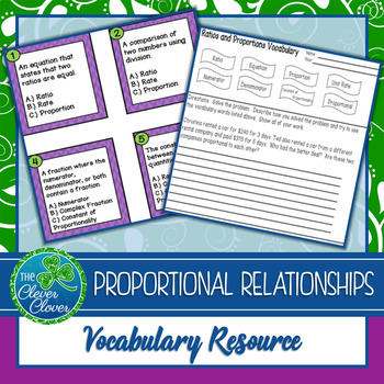 Ratio and Proportions Vocabulary Resources