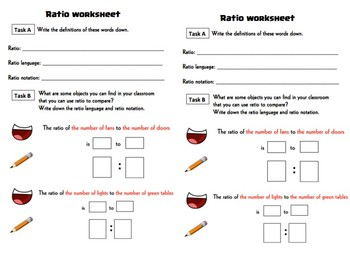 Ratio language worksheets