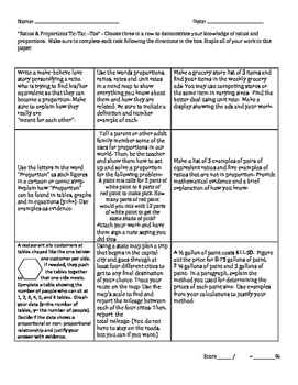 Ratio's & Proportional Relationships Tic-Tac-Toe: A choice board activity 7 RP