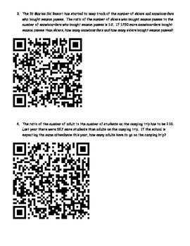 Ratio word problems - QR Code answers