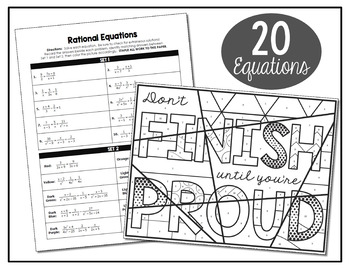 Rational Equations Coloring Activity By All Things Algebra Tpt