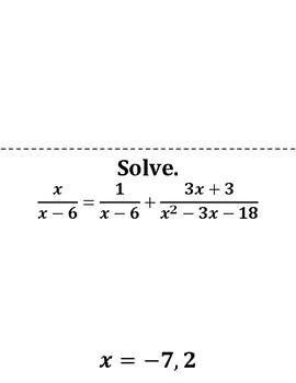 Rational Equations Scavenger Hunt Game