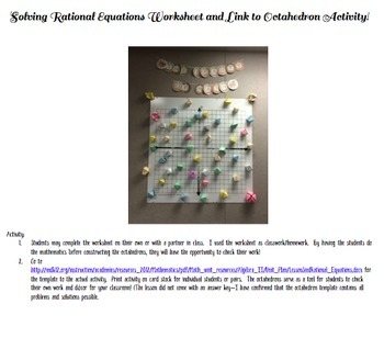 Rational Equations Worksheet and Link to Octahedron Activity!