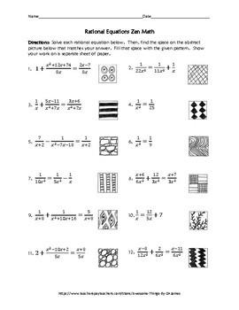 Rational Equations Zen Math