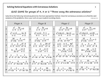 Rational Equations ALL with EXTRANEOUS Solutions - Quiz Game for small groups