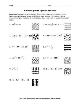 Rational Exponent Equations Zen Math
