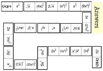 Rational Exponents Activity, Worksheet & Assessment Bundle