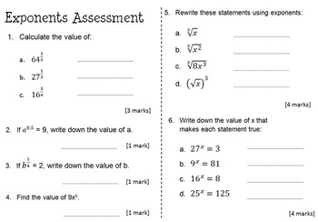Rational Exponents Activity, Worksheet & Assessment Bundle by ...