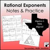 Rational Exponents Notes & Coloring Practice (A11B)