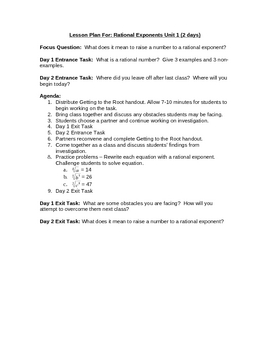 Rational Exponents Lesson Plan & Handout: Getting to the Root