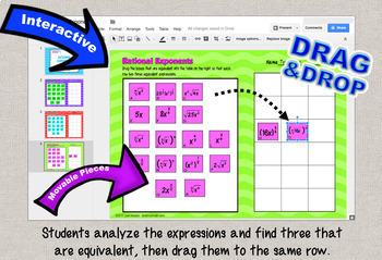 Rational Exponents Match 3  Sorting with GOOGLE Slides