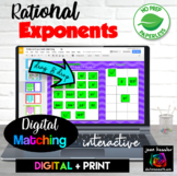 Rational Exponents Digital Matching Plus Printable plus PRINTABLE