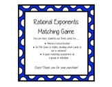 Rational Exponents Matching Game