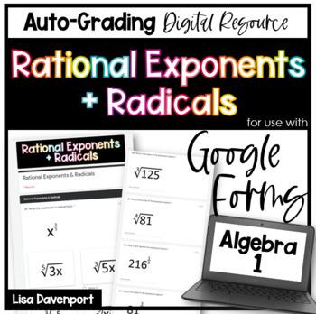 Rational Exponents & Radicals- Google Forms Digital Homework