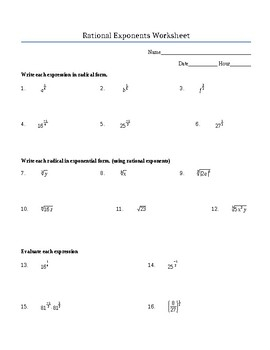 Rational Exponents Worksheet (Positive and Negative) Includes Roots