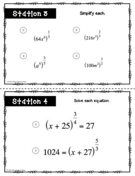 Rational Exponents and Radical Expressions Stations Activity