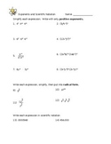 Rational Exponents and Scientific Notation Worksheet