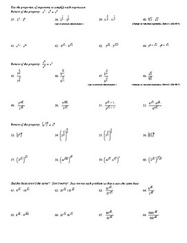 Rational Exponents worksheet and answer key