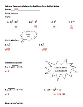 Rational Exponents/Solving Radical Equations Guided Notes