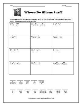 Printables of Adding And Subtracting Rational Expressions Worksheet ...