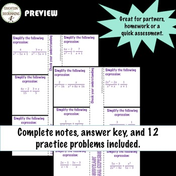 Rational Expressions Add and Subtract Color Coded Interactive Notebook