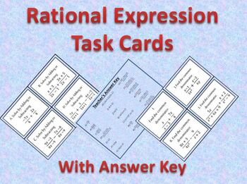 Rational Expressions: Adding and Subtracting Task Cards
