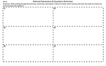 Rational Expressions & Equations Domino Activity