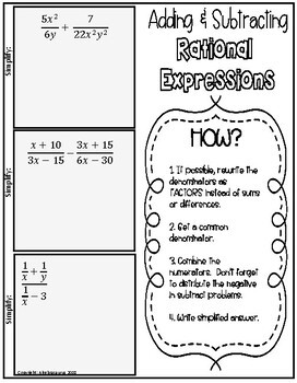 Rational Expressions & Equations Packet Doodle Notes or Graphic Organizer