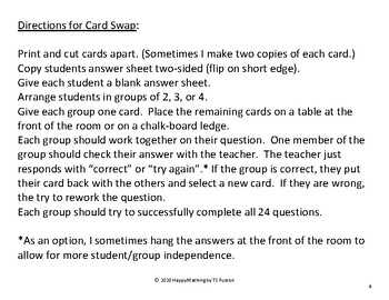 Rational Expressions, Equations, and Inequalities Card Swap Review