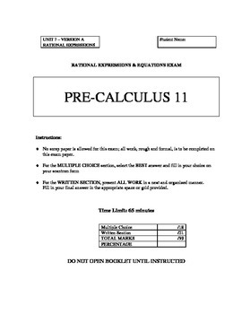 Rational Expressions & Equations Test - Version A with FUL