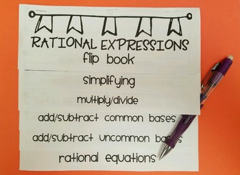 Rational Expressions Flip Book