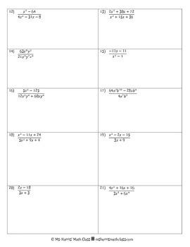 Rational Expressions: Homework Packet (Worksheets)