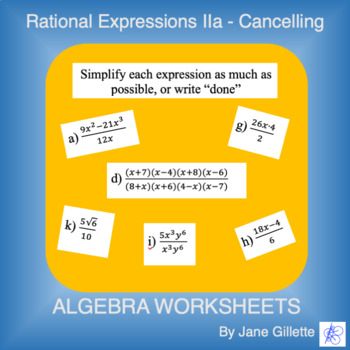 Rational Expressions IIa - Cancelling
