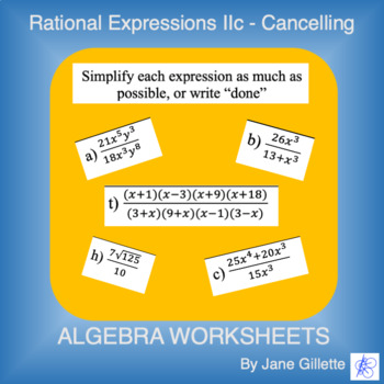 Rational Expressions IIc - Cancelling