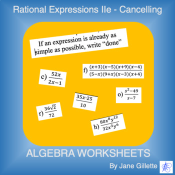 Rational Expressions IIe - Cancelling