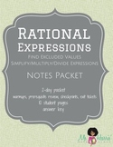 Rational Expressions: Interactive Student Notes Packet (Worksheets)