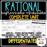 Rational Expressions: No PREP Complete Unit + Differentiated + Answer Keys