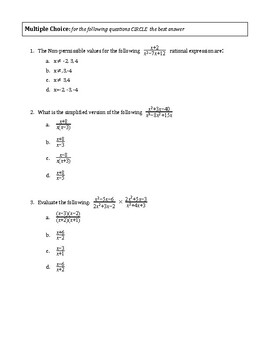 Rational Expressions Test