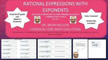Rational Expressions with Exponents - PowerPoint Lesson and Printables!