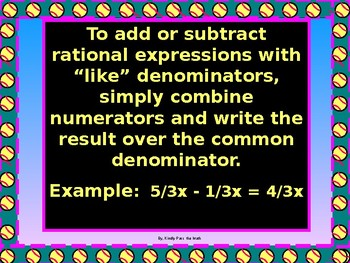 Algebra Powerpoint: Add and Subtract Rationals w/ Like Denominators GUIDED NOTES