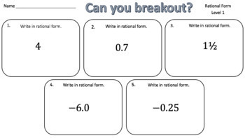 Rational Form– Two Breakout Activities!